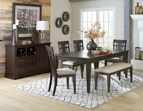 Makah Rectangular Dining Set - Dark Brown