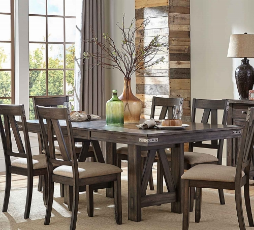 Mattawa Rectangular Dining Table with Butterfly Leaf - Brown/Hints of Gray Undertone