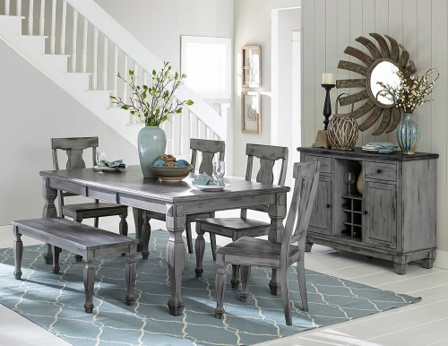 Fulbright Rectangular Dining Set - Weathered Gray Rub Through Finish