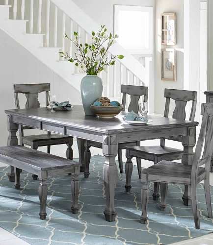 Fulbright Rectangular Dining Table with Butterfly Leaf - Weathered Gray Rub Through Finish