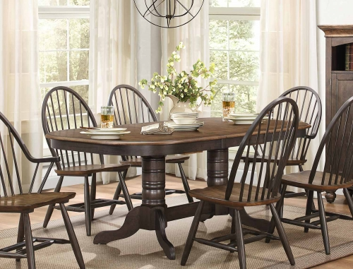 Cline Rectangular Double Pedestal Dining Table with Butterfly Leaf - Two tone finish