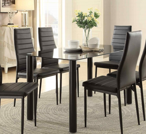 Florian Rectangular Black Glass Table Top Dining Table - Black
