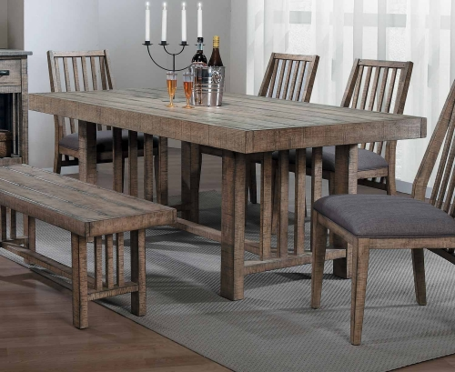 Codie Rectangular Dining Table - Brown Burnishing/Gray Undertones