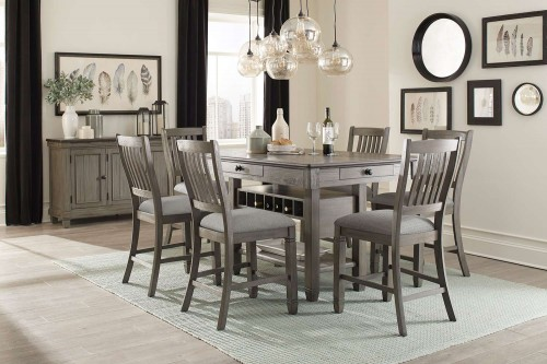 Granby Counter Height Dining Set - Antique Gray and Coffee