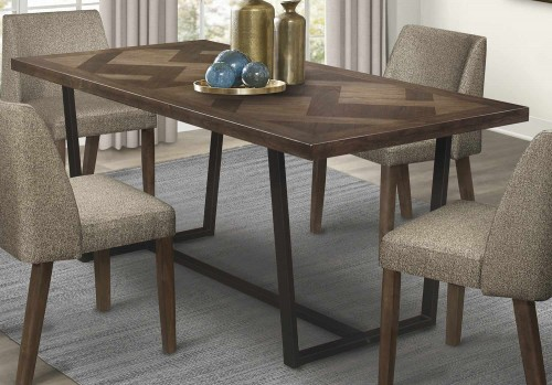 Leland Dining Table - Warm Brown and Black