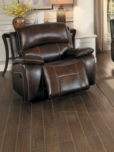 Mahala Glider Reclining Chair - Brown Top Grain Leather Match