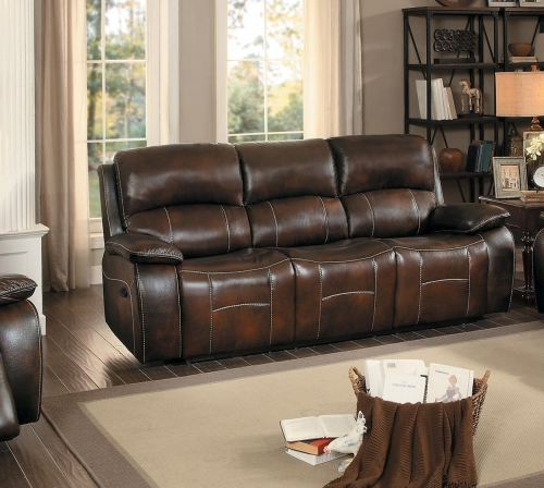 Mahala Double Reclining Sofa - Brown Top Grain Leather Match