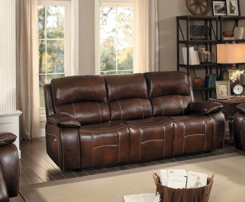 Mahala Power Double Reclining Sofa - Brown Top Grain Leather Match