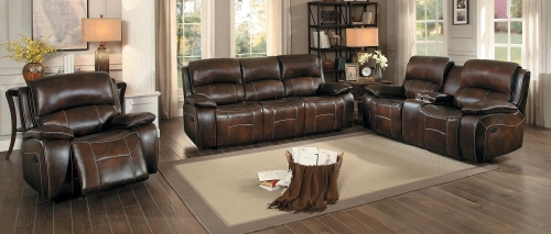 Mahala Reclining Sofa Set - Brown Top Grain Leather Match