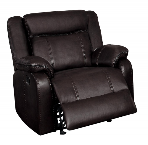 Jude Glider Reclining Chair - Dark Brown Leather Gel Match