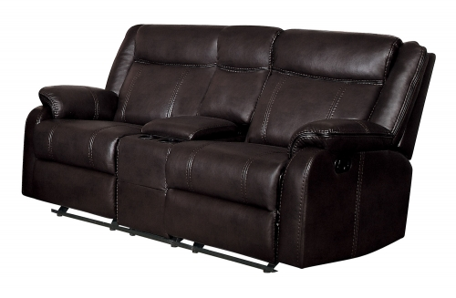 Jude Double Glider Reclining Love Seat with Console - Dark Brown Leather Gel Match
