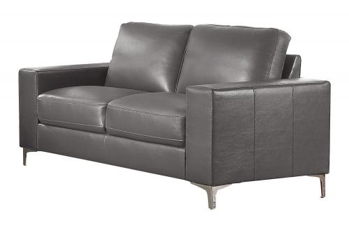 Iniko Love Seat - Gray Leather Gel Match