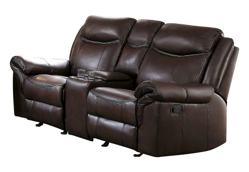 Aram Double Glider Reclining Love Seat with Center Console and Receptacles - Dark Brown AireHyde Match