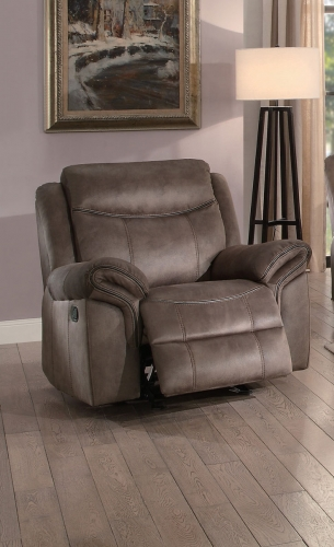 Aram Glider Reclining Chair - Brown Fabric