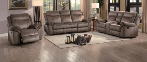 Aram Reclining Sofa Set - Brown Fabric