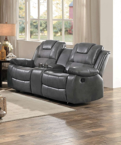 Taye Double Glider Reclining Love Seat with Center Console - Gray Leather Gel Match/fabric