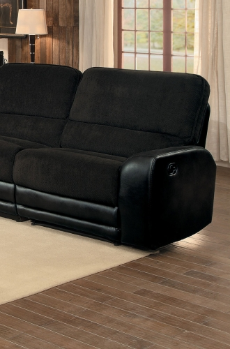Ynez Right Side Facing Reclining Chair - Chocolate Fabric/Leather Gel