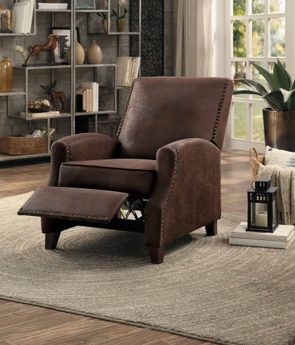 Walden Push Back Reclining Chair - Brown Fabric