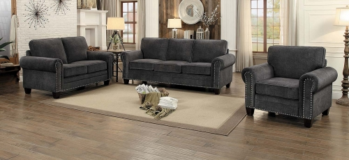 Cornelia Sofa Set - Dark Gray Fabric