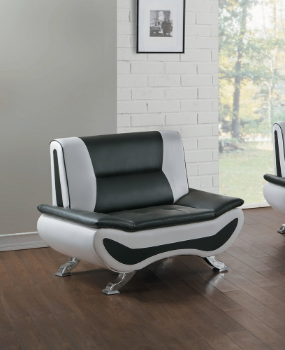 Veloce Chair - Black/Ivory Bi-Cast Vinyl