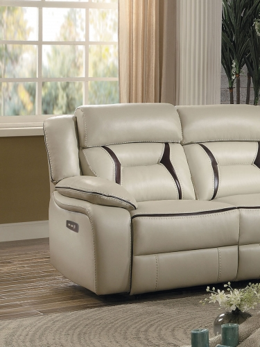 Amite Power Left Side Facing Reclining Chair - Beige Leather Gel Match