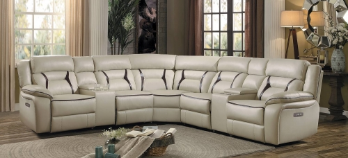 Amite Power Reclining Sectional Set - Beige Leather Gel Match