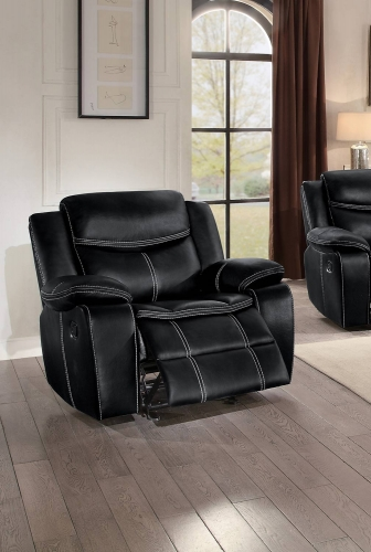 Bastrop Glider Reclining Chair - Black Leather Gel Match