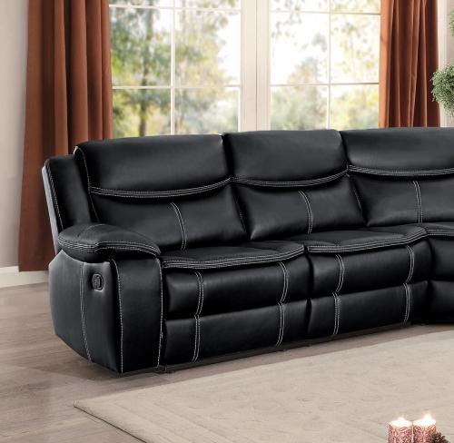 Bastrop Left Side Facing Reclining Love Seat - Black Leather Gel Match