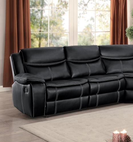 Bastrop Right Side Facing Double Reclining Love Seat with Console - Black Leather Gel Match