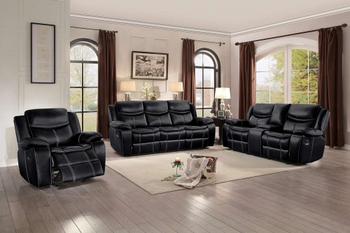 Bastrop Reclining Sofa Set - Black Leather Gel Match