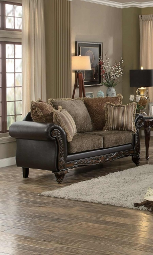Thibodaux Love Seat - Brown Fabric/Dark Brown Bi-Cast Vinyl