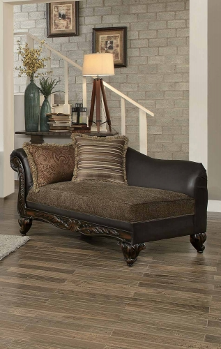 Thibodaux Chaise - Brown Fabric/Dark Brown Bi-Cast Vinyl