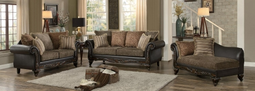 Thibodaux Sofa Set - Brown Fabric/Dark Brown Bi-Cast Vinyl