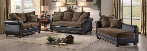 Grande Isle Sofa Set - Brown Fabric/Dark Brown Bi-Cast Vinyl
