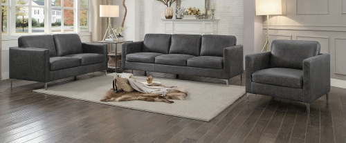 Breaux Sofa Set - Gray Fabric