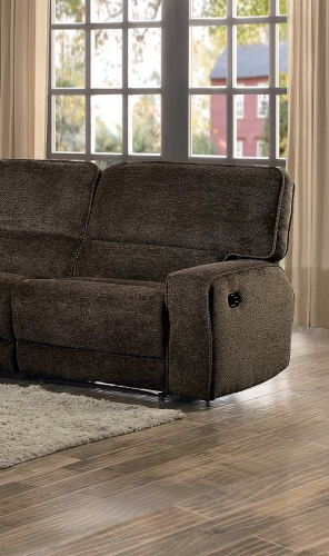 Shreveport Right Side Facing Reclining Chair - Brown Fabric