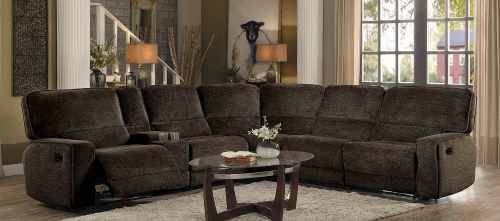 Shreveport Reclining Sectional Set - Brown Fabric