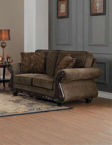 Mandeville Love Seat - Brown Chenille