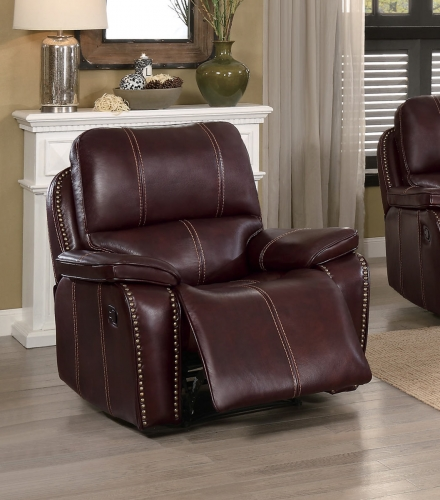 Haughton Reclining Chair - Brown Top Grain Leather Match