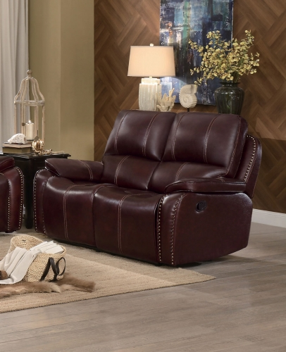 Haughton Double Reclining Love Seat - Brown Top Grain Leather Match