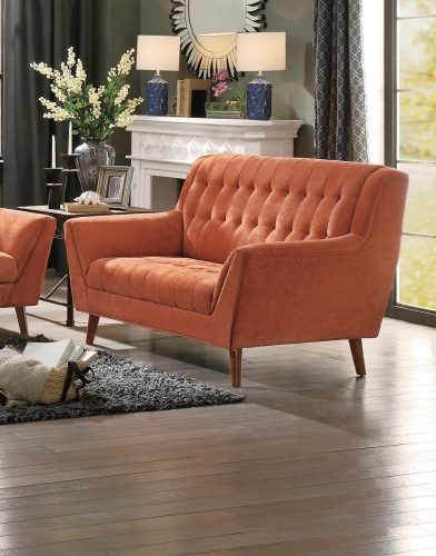 Erath Love Seat - Orange Fabric