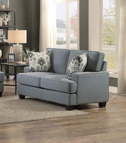 Kenner Love Seat - Gray Fabric