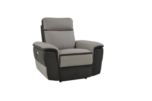 Laertes Power Reclining Chair - Taupe Grey Top Grain Leather/Fabric