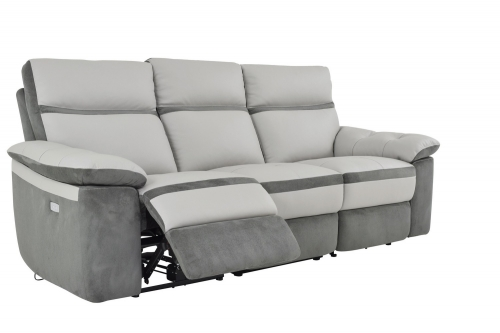 Otto Power Double Reclining Sofa - Top Grain Leather - Light Grey
