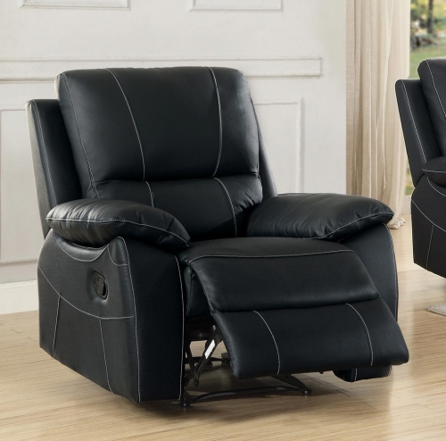 Greeley Reclining Chair - Top Grain Leather Match - Black