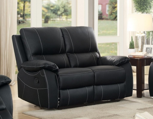 Greeley Double Reclining Love Seat - Top Grain Leather Match - Black