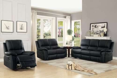 Greeley Reclining Sofa Set - Top Grain Leather Match - Black