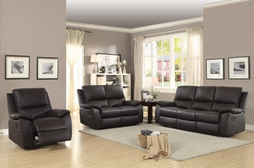 Greeley Reclining Sofa Set - Top Grain Leather Match - Brown