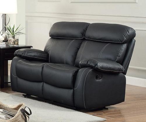 Pendu Double Reclining Love Seat - Top Grain Leather Match - Black