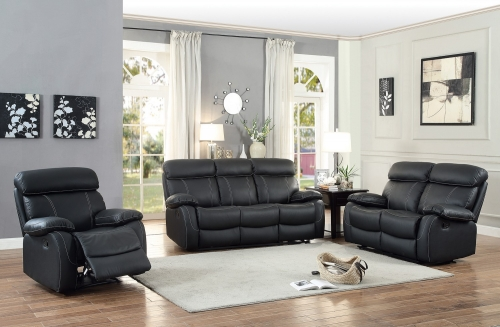 Pendu Reclining Sofa Set - Top Grain Leather Match - Black